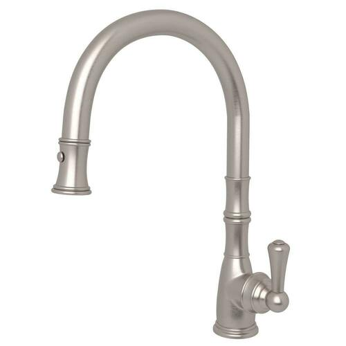 Rohl U.4744STN-2 Georgian Era Single Handle Pull Down Kitchen Faucet, Satin Nickel
