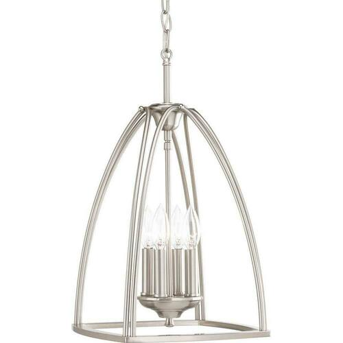 Progress Lighting P3786-09 Tally 4-Light 60W Foyer Pendant, Brushed Nickel