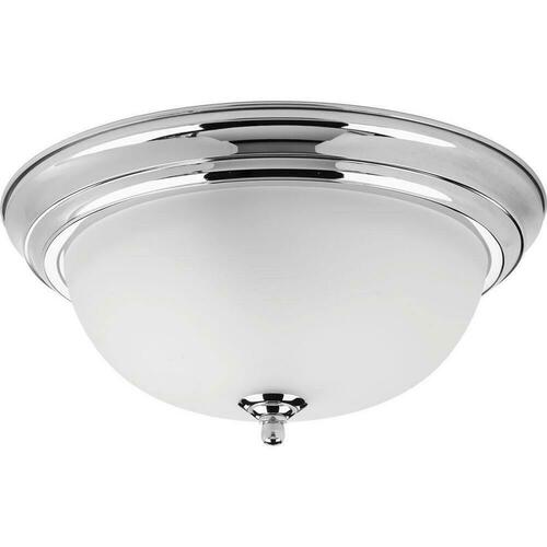 Progress Lighting P3925-15ET Dome Glass CTC 75W 2-Light Medium E-26 Incandescent Ceiling Light with Etched Glass, Polished Chrome