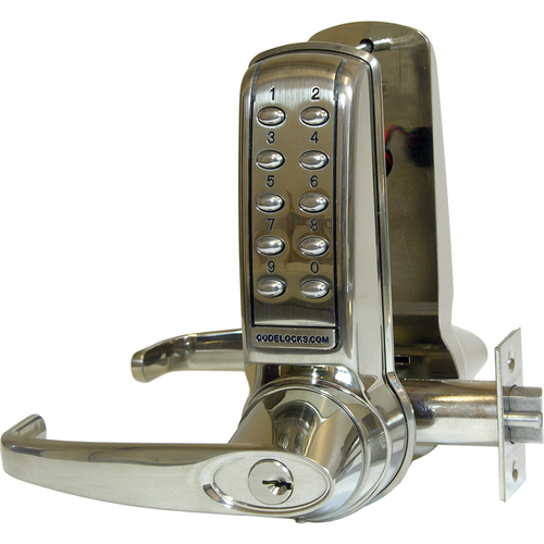 Codelocks CL4210SS Electronic Tubular Keypad Lever Latchbolt Lock Stainless Steel Finish