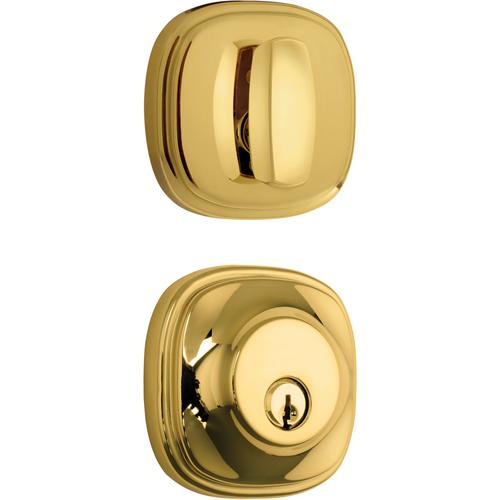 Brinks 23063-105 Weldon Single Cylinder Deadbolt with Kwikset Keyway Polished Brass Finish