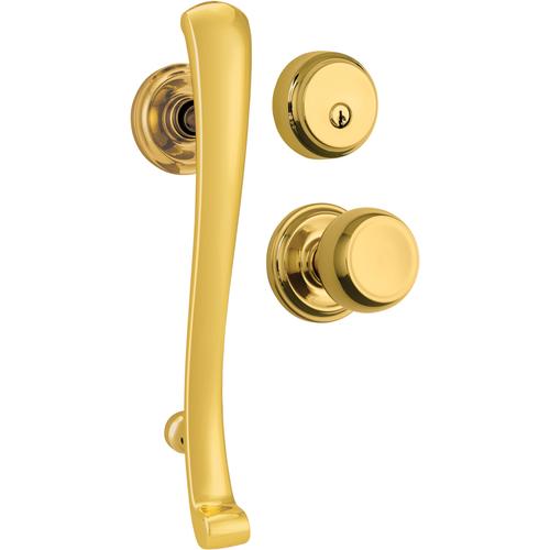 Brinks 23072-105 Rourke Single Cylinder Handleset with Staff Trim and Kwikset Keyway Polished Brass Finish