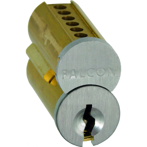 Falcon Lock C647-A606 7 Pin A Keyway Uncombinated Small Format Interchangeable Core Satin Brass Finish