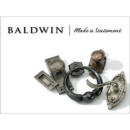 Baldwin FDFEDLTRR141 Left Hand Full Dummy Federal Lever and Traditional Round Rose Bright Nickel Finish