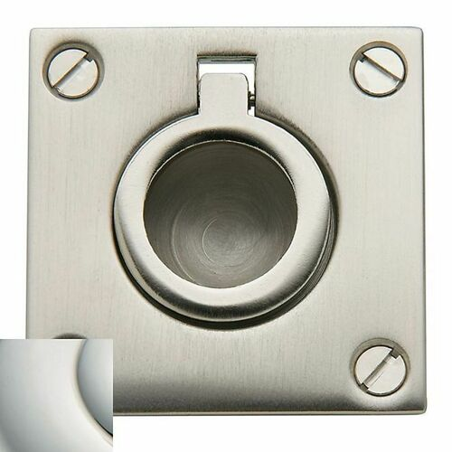 Baldwin 0393140 Flush Ring Pull Bright Nickel Finish
