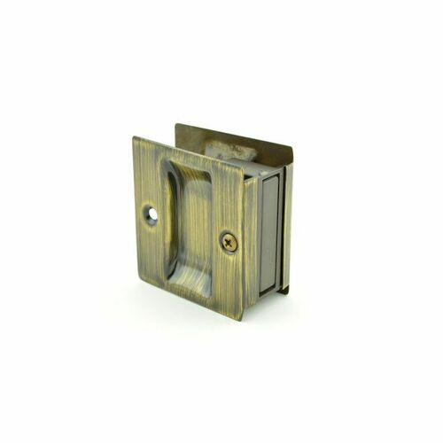 Trimco 1064609 Passage Pocket Door Lock Square Cutout Antique Brass Finish