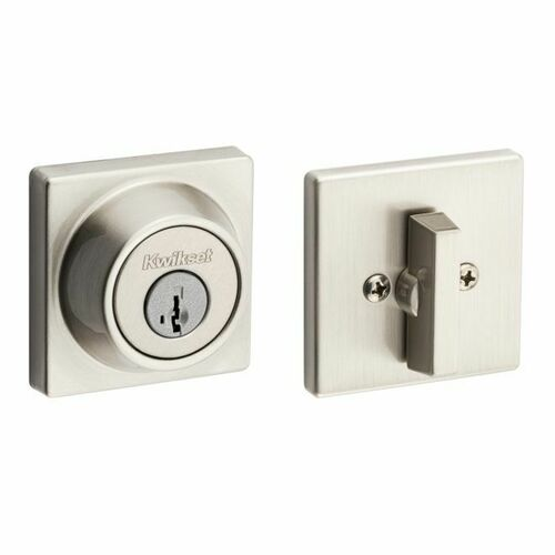 Kwikset 660SQT-15S Single Cylinder Square Deadbolt SmartKey with RCAL Latch and RCS Strike Satin Nickel Finish