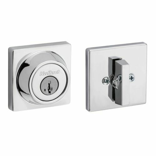 Kwikset 660SQT-26S Single Cylinder Square Deadbolt SmartKey with RCAL Latch and RCS Strike Bright Chrome Finish