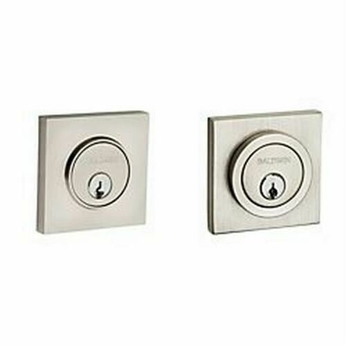 Baldwin 8221150 Contemporary Square Double Cylinder Deadbolt Satin Nickel Finish