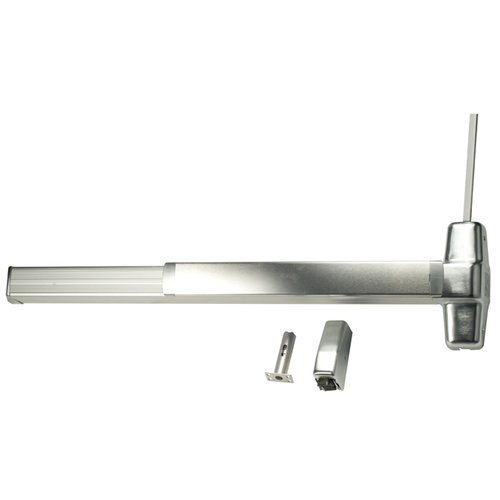 Von Duprin 9927EOF26D3LBRAFL 3' Fire Rated Surface Vertical Rod Grooved Case Exit Device Less Bottom Rod with Auxiliary Fire Latch, Satin Chrome Fi...