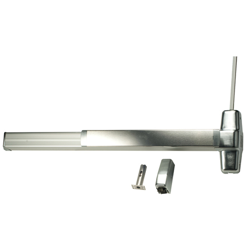 Von Duprin 9927EOF26D4LBRAFL 4' Fire Rated Surface Vertical Rod Grooved Case Exit Device Less Bottom Rod with Auxiliary Fire Latch, Satin Chrome Fi...