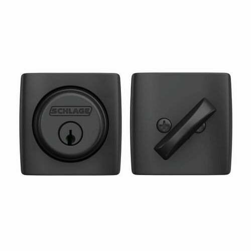 Schlage B60DLT622 Dalton Single Cylinder Deadbolt C Keyway with 12287 Latch and 10116 Strike Matte Black Finish