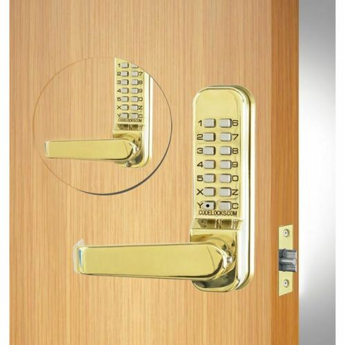 Codelocks CL415BBPB Back to Back Tubular Keypad Lever Latchbolt Lock with Code Free Option Polished Brass Finish
