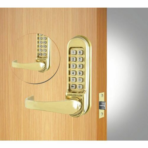 Codelocks CL515BBPB Back to Back Heavy Duty Tubular Keypad Latchbolt Lock with Code Free Option Polished Brass Finish