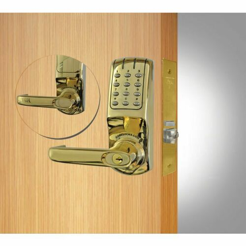 Codelocks CL5250PB Mortise Keypad Lever Lock Polished Brass Finish