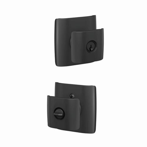 Schlage F51AGAN622DLT Ganton Knob with Dalton Rose Keyed Entry Lock C Keyway with 16086 Latch and 10027 Strike Matte Black Finish