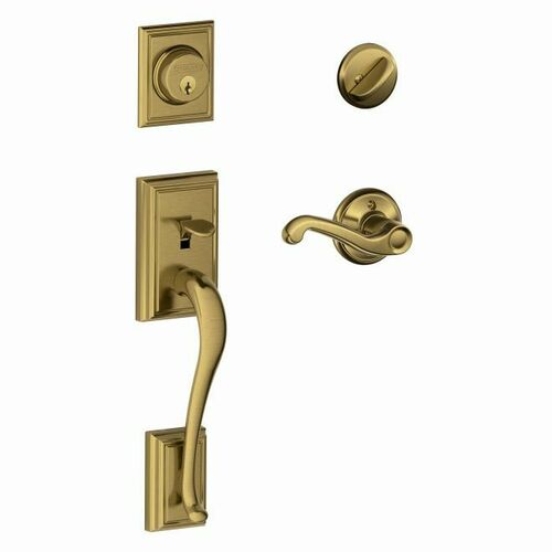 Schlage F60ADD609FLARH Addison Exterior Active Handleset C Keyway with Right Hand Flair Lever Interior Active Trim with 12326 Latch and 10269 Strik...