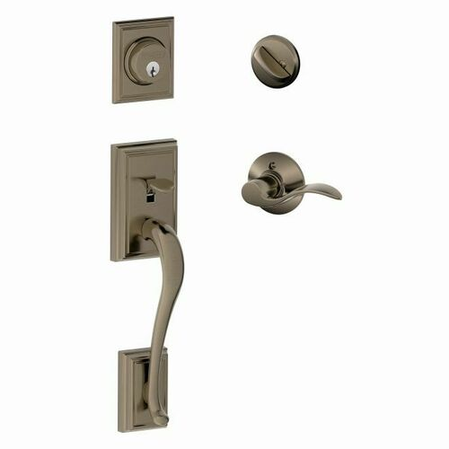 Schlage F60ADD620ACCLH Addison Exterior Active Handleset C Keyway with Left Hand Accent Lever Interior Active Trim with 12326 Latch and 10269 Strik...