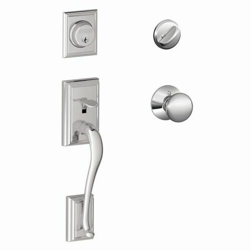 Schlage F60ADD625PLY Addison Exterior Active Handleset C Keyway with Plymouth Knob Interior Active Trim with 12326 Latch and 10269 Strikes Bright C...