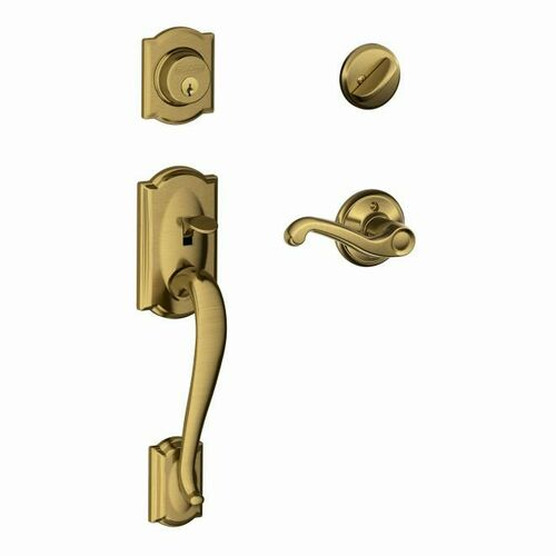 Schlage F60CAM609FLARH Camelot Exterior Active Handleset C Keyway with Right Hand Flair Lever Interior Active Trim with 12326 Latch and 10269 Strik...