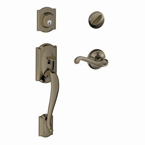 Schlage F60CAM620FLARH Camelot Exterior Active Handleset C Keyway with Right Hand Flair Lever Interior Active Trim with 12326 Latch and 10269 Strik...
