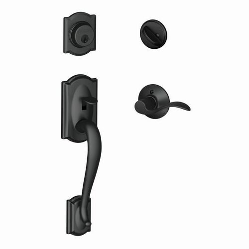 Schlage F60CAM622ACCLH Camelot Exterior Active Handleset C Keyway with Left Hand Accent Lever Interior Active Trim with 12326 Latch and 10269 Strik...