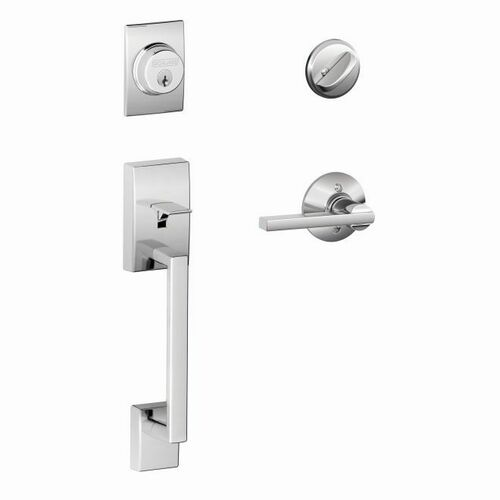 Schlage F60CEN625LAT Century Exterior Active Handleset C Keyway with Latitude Lever Interior Active Trim with 12326 Latch and 10269 Strikes Bright ...