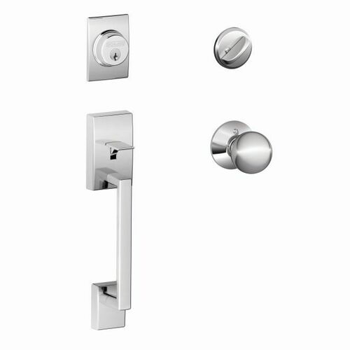 Schlage F60CEN625ORB Century Exterior Active Handleset C Keyway with Orbit Knob Interior Active Trim with 12326 Latch and 10269 Strikes Bright Chro...