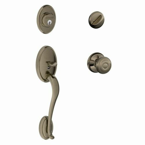 Schlage F60WKF620GEO Wakefield Exterior Active Handleset C Keyway with Georgian Knob Interior Active Trim with 12326 Latch and 10269 Strikes Antiqu...