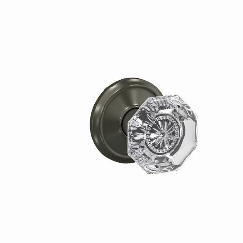 Schlage FC172ALX530ALD Alexandria Glass Knob with Alden Rose Non Turning Dummy Lock Black Stainless Finish