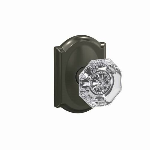 Schlage FC172ALX530CAM Alexandria Glass Knob with Alden Rose Non Turning Dummy Lock Black Stainless Finish
