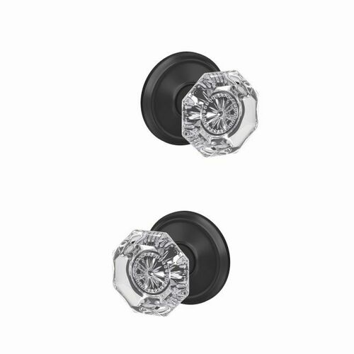 Schlage FC172ALX622ALD Alexandria Glass Knob with Alden Rose Non Turning Dummy Lock Matte Black Finish