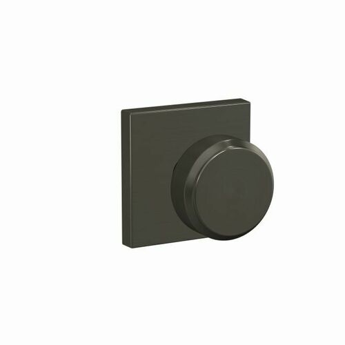 Schlage FC172BWE530COL Bowery Knob with Collins Rose Non Turning Dummy Lock Black Stainless Finish