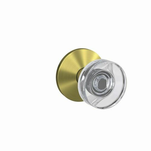 Schlage FC172DAW608KIN Dawes Glass Knob with Kinsler Rose Non Turning Dummy Lock Satin Brass Finish