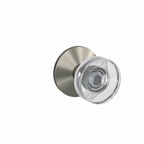 Schlage FC172DAW619KIN Dawes Glass Knob with Kinsler Rose Non Turning Dummy Lock Satin Nickel Finish