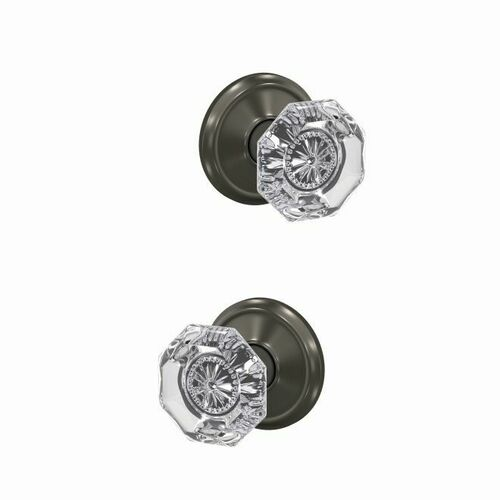 Schlage FC21ALX530ALD Alexandria Glass Knob with Alden Rose Passage and Privacy Lock with 16600 Latch and 10027 Strike Black Stainless Finish