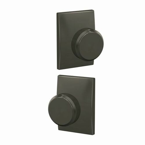 Schlage FC21BWE530CEN Bowery Knob with Century Rose Passage and Privacy Lock with 16600 Latch and 10027 Strike Black Stainless Finish