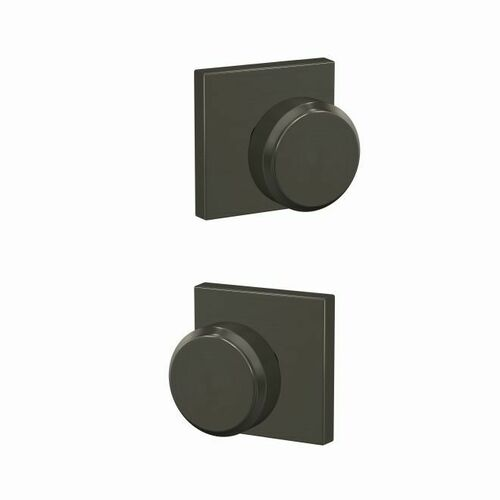Schlage FC21BWE530COL Bowery Knob with Collins Rose Passage and Privacy Lock with 16600 Latch and 10027 Strike Black Stainless Finish