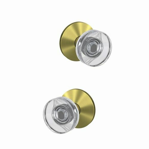 Schlage FC21DAW608KIN Dawes Glass Knob with Kinsler Rose Passage and Privacy Lock with 16600 Latch and 10027 Strike Satin Brass Finish