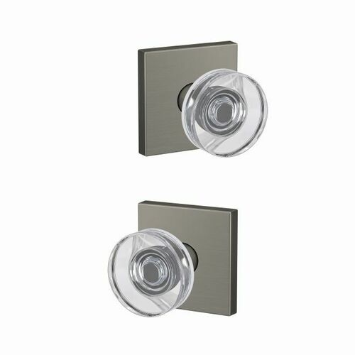 Schlage FC21DAW619COL Dawes Glass Knob with Collins Rose Passage and Privacy Lock with 16600 Latch and 10027 Strike Satin Nickel Finish