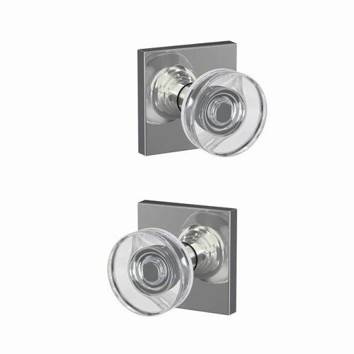 Schlage FC21DAW625COL Dawes Glass Knob with Collins Rose Passage and Privacy Lock with 16600 Latch and 10027 Strike Bright Chrome Finish