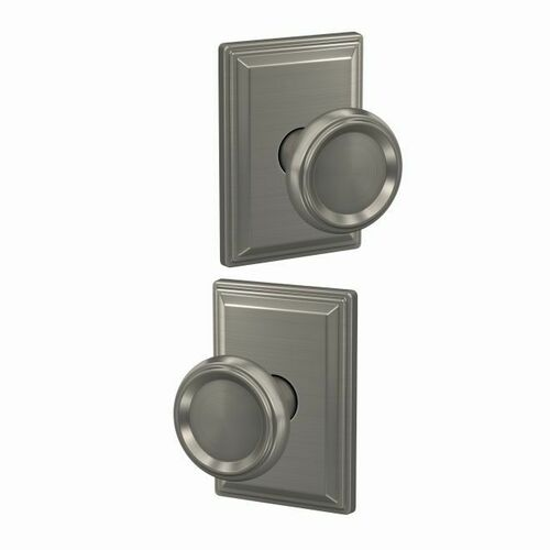 Schlage FC21OFM619GDV Offerman Knob with Grandville Rose Passage and Privacy Lock with 16600 Latch and 10027 Strike Satin Nickel Finish