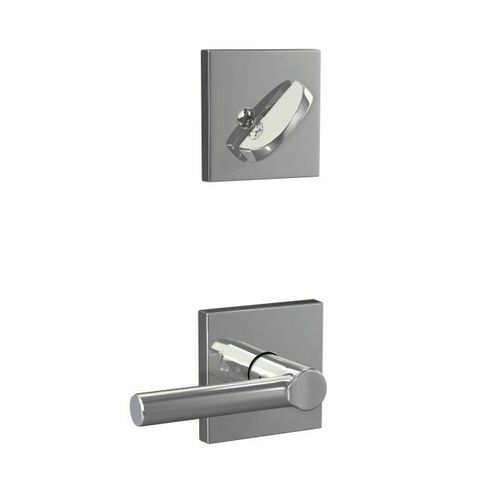 Schlage FC59BRW625COL Custom Broadway Lever with Collins Rose Interior Active Trim with 16680 Latch and 10269 Strike Bright Chrome Finish