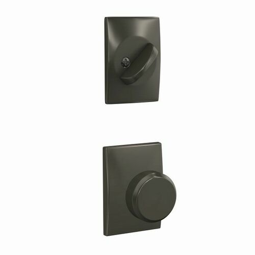 Schlage FC59BWE530CEN Bowery Knob with Century Rose Interior Active Trim with 16680 Latch and 10269 Strike Black Stainless Finish