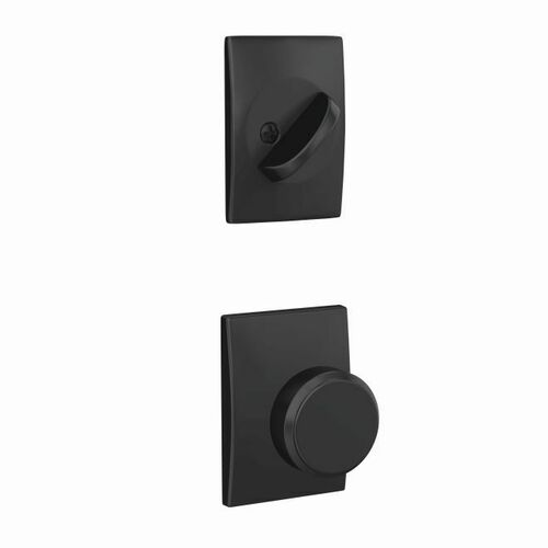 Schlage FC59BWE622CEN Custom Bowery Knob with Century Rose Interior Active Trim with 16680 Latch and 10269 Strike Matte Black Finish