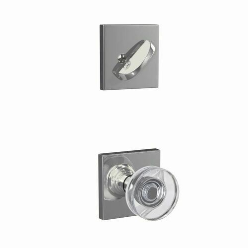 Schlage FC59DAW625COL Dawes Glass Knob with Collins Rose Interior Active Trim with 16680 Latch and 10269 Strike Bright Chrome Finish