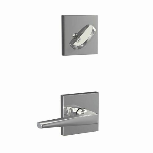 Schlage FC59ELR625COL Custom Eller Lever with Collins Rose Interior Active Trim with 16680 Latch and 10269 Strike Bright Chrome Finish