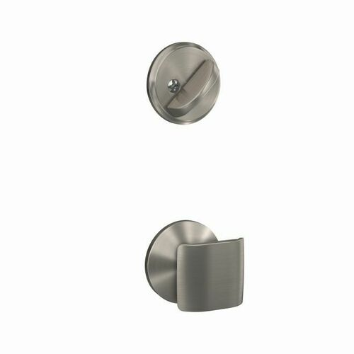 Schlage FC59GAN619KIN Ganton Knob with Kinsler Rose Interior Active Trim with 16680 Latch and 10269 Strike Satin Nickel Finish