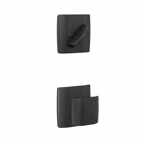 Schlage FC59GAN622DLT Ganton Knob with Dalton Rose Interior Active Trim with 16680 Latch and 10269 Strike Matte Black Finish