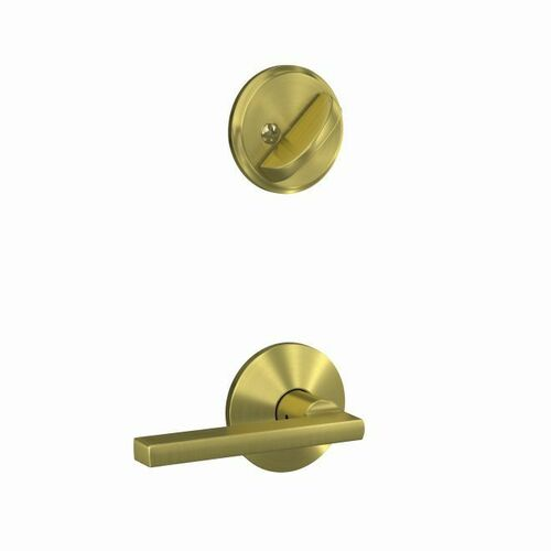Schlage FC59LAT608KIN Custom Latitude Lever with Kinsler Rose Interior Active Trim with 16680 Latch and 10269 Strike Satin Brass Finish
